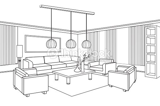 Interior outline sketch furniture blueprint flat design plan vector interior outline sketch furniture blueprint flat design plan malvernweather Images