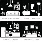 Interior silhouettes of flat rooms. Vector black and white drawing of living room, bathroom, kitchen and bedroom.