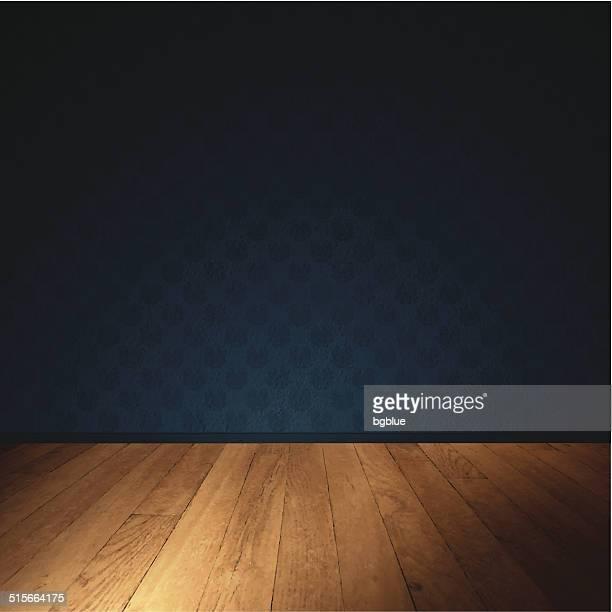 Pared Interior con piso de madera, con iluminación tenue habitación
