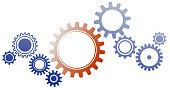 interlocking cogwheels on white background vector illustration