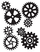 Set of four different styles of gears or cogwheels with matching interlocking smaller gears.