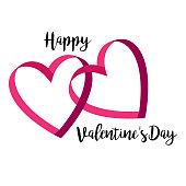 happy valentines day interlocking ribbon hearts with calligraphic typography