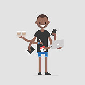 Intern, conceptual illustration. Multitasking millennial concept. Young black character with six hands doing a lot of tasks at the same time  / flat editable vector illustration