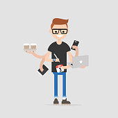 Intern, conceptual illustration. Multitasking millennial concept. Young character with six hands doing a lot of tasks at the same time  / flat editable vector illustration