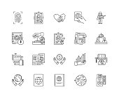 International affairs line icons, linear signs, vector set, outline concept illustration