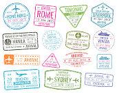 International business travel visa stamps vector arrivals sign. Set of variety rubber stamp city illustration