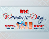 Holiday design, background with 3d handwriting texts for Women's day, sales, commercial event, Vector illustration