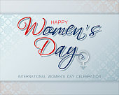 Holiday design, background with handwriting for Women's day event, celebration; Vector illustration