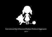 Abused children vector illustration. Little girl with bear silhouette vector. Abused little girl icon. Important day