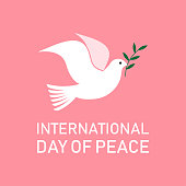 International Day of Peace. Dove with a olive branch. Vector Illustration