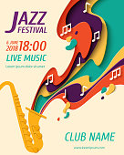 Jazz Festival - music paper cut style poster for jazz festival or night blues retro party with saxophone and notes. Vector paper craft vintage music background