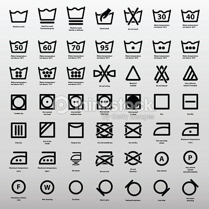 International Laundry Washing Instructions Icon Set Vector Art