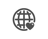 International Love simple icon. Heart with Globe symbol. Valentines day sign. Quality design elements. Classic style. Vector