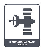 international space station icon vector on white background, international space station trendy filled icons from Astronomy collection