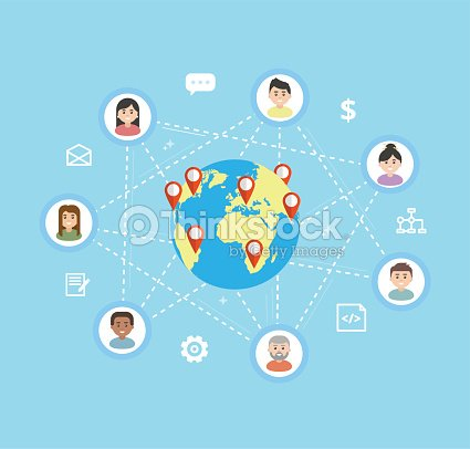 International Teamwork - vector flat illustration. Remote team work on a common project, freelance concept. Workers icons are linked around the globe. : stock vector