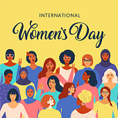 Female diverse faces of different ethnicity poster. Women empowerment movement pattern. International women's day graphic vector.
