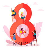 International Women's Day greeting card with cute ladies on big digit eight. Funny woman cartoon characters for flyer, poster, invitation and other. Vector illustration