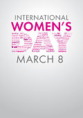 International Women's Day title with a word cloud forming the word Day in pink and violet colors on white background