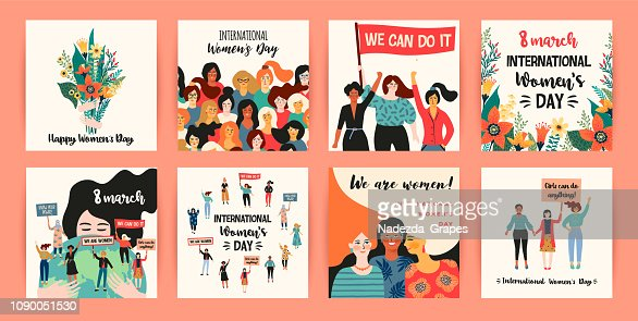 International Womens Day. Vector templates with women different nationalities and cultures. : stock vector