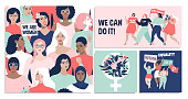 International Women's Day. We can do it! Vector templates for card, poster, flyer and other users.