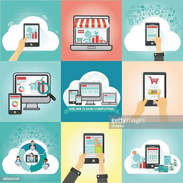 internet and online cloud computing web kit