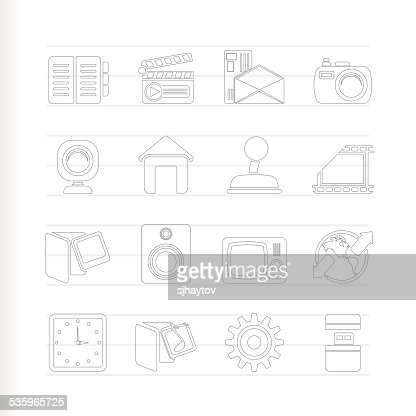 Internet, Computer and mobile phone icons : Vector Art