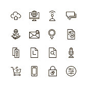 Internet icon set. Collection of high quality outline web pictograms in modern flat style. Black computer symbol for web design and mobile app on white background. Website line logo.