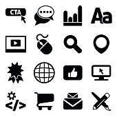A set of 16 different icons associated with popular internet marketing items.