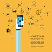Internet of things concept with human hand holding smartphone and black icons. Vector illustration.