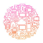 Internet of Things Line Icon Circle. Vector Illustration of Smart Home Technology Objects.