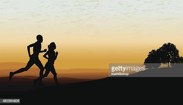 Interracial Couple Jogging at Twilight Background