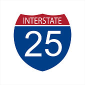 Vector illustration interstate highway 25 road sign icon isolated on white background