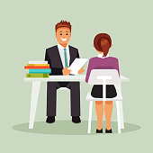 Meeting the interview of the candidate and the boss. Recruitment. Vector illustration
