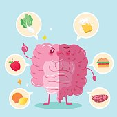 cute cartoon intestine with health concept on green background