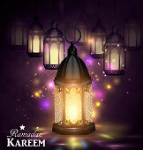Intricate Arabic lamps with lights for Ramadan Kareem and other events on a abstract background