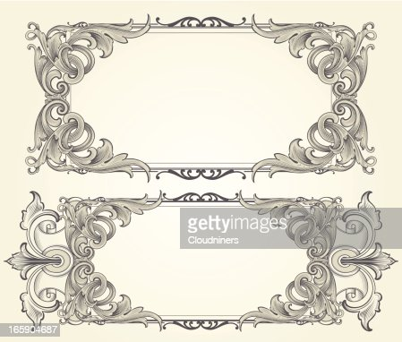intricate vector engraved frames vector art