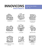 Investments - modern vector line design icons set. Business, stock exchange, supporting company, self-education, advisor, consultation, innovation, investment school online, high and no risk