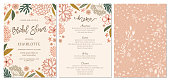 Rustic hand drawn Bridal Shower invitation and menu with seamless background. Vector illustration.