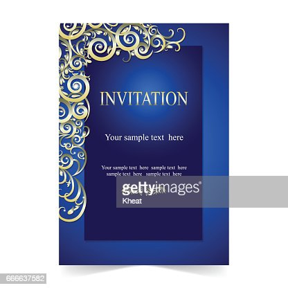 Invitation Card Wedding Card With Ornamental On Blue Background
