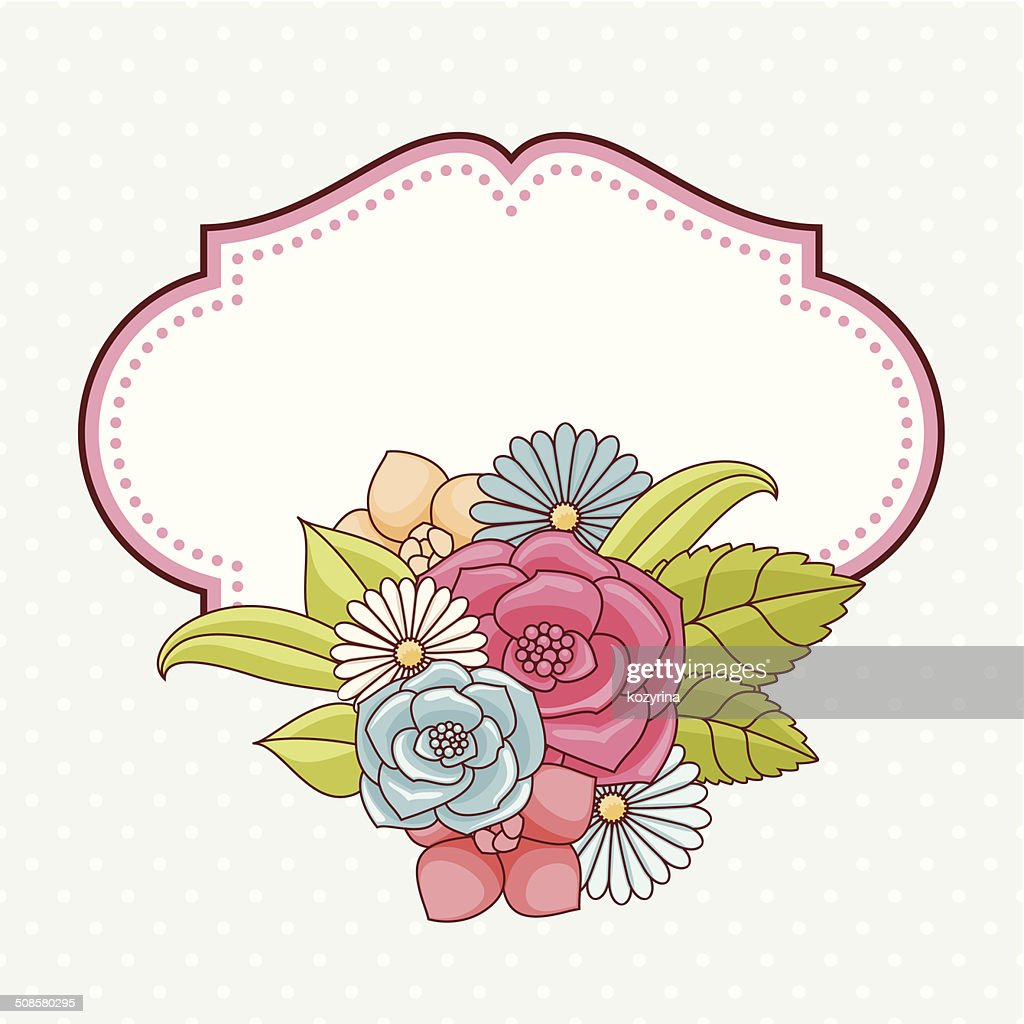 Invitation card with flowers. : Vectorkunst