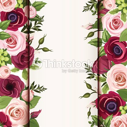 Invitation card with red and pink roses lisianthuses and anemone invitation card with red and pink roses lisianthuses and anemone flowers vector eps stopboris Image collections