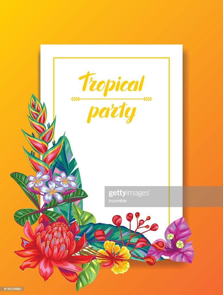 Invitation card with Thailand flowers. Tropical multicolor plants, leaves and : Vector Art