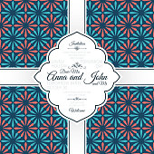 Invitation template card with vintage blue and red spanish pattern, vector illustration