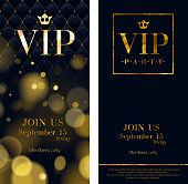 VIP party premium invitation cards posters flyers. Black and golden design template set. Glow bokeh and wuilted pattern decorative background. Mosaic faceted letters.
