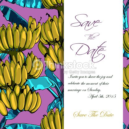 Invitation of tropical pattern with banana leaves vector invitation of tropical pattern with banana leaves vector illustration arte vetorial stopboris Image collections