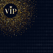 VIP party premium invitation card poster flyer. Black and golden design background template. Golden sequins in the corner with copy space back.