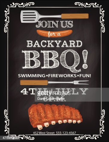 Bbq Invitation Template On A Chalkboard Base Vector Art | Getty Images