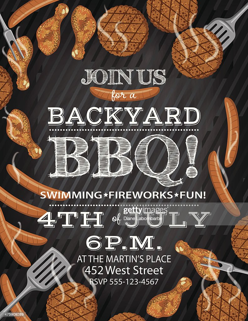 bbq invitation template on a chalkboard base vector art getty images