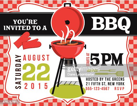 Cute Bbq Invitation Template With Grill And Stars Vector Art – Bbq Invitation Template