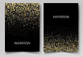 Invitation template with gold glitter confetti background. Festive greeting cards
